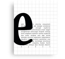Art Print - Words with Letter E  - Words and Letters - Typography Canvas Print