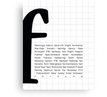Art Print - Words with Letter F - Words and Letters - Typography Canvas Print