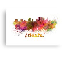 Atlanta skyline in watercolor Canvas Print