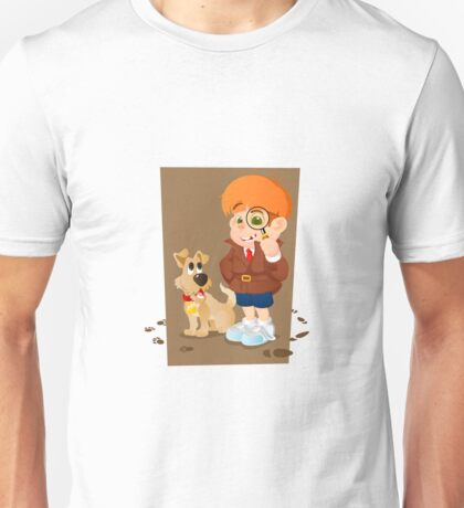 Smart young cartoon detective boy and his dog Unisex T-Shirt
