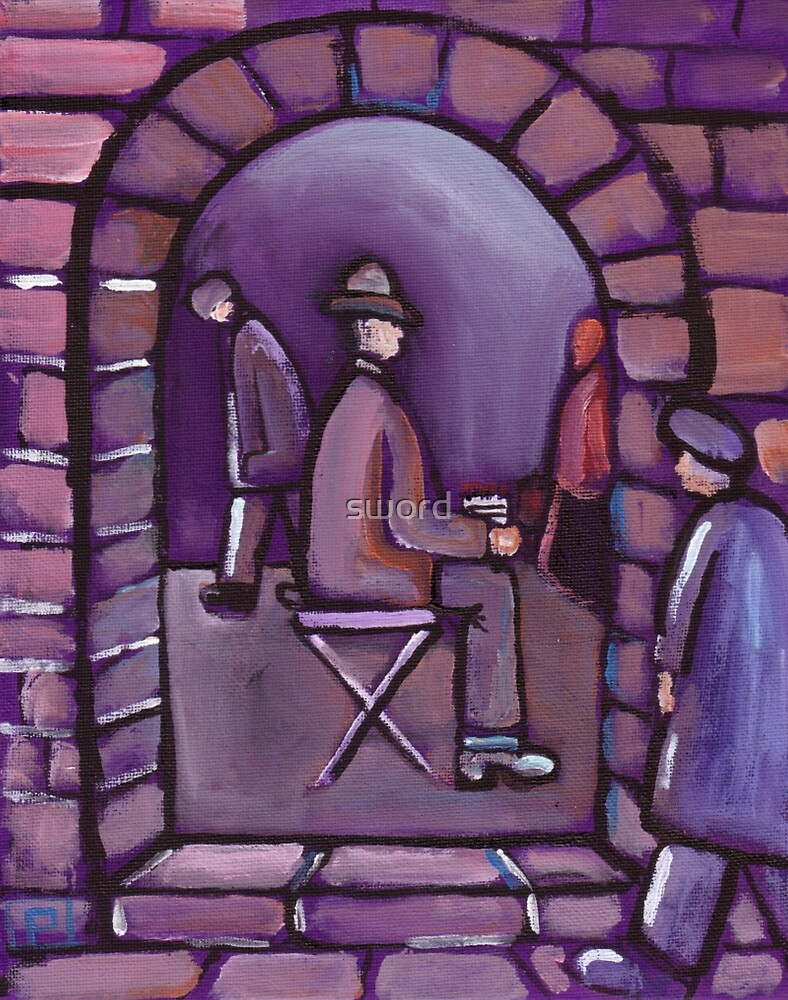 THe match seller (from my original acrylic painting ) by sword