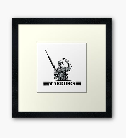 Soldier with rifle and grenade Framed Print