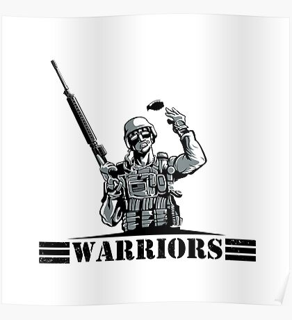 Soldier with rifle and grenade Poster