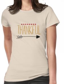 Thankful Hand Writing Arrow Womens Fitted T-Shirt