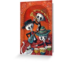Dia de Los Muertos Skeleton Musicans Greeting Card