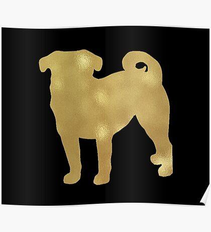 Gold pug Poster