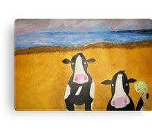Cows at the Beach Canvas Print