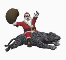 Santa Claus Riding On Grey Panther Kids Tee
