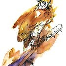 Owl and Guitar by LauraGarabedian