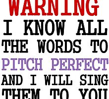 WARNING I KNOW ALL THE WORDS TO PITCH PERFECT by Divertions