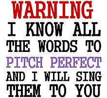 WARNING I KNOW ALL THE WORDS TO PITCH PERFECT Photographic Print
