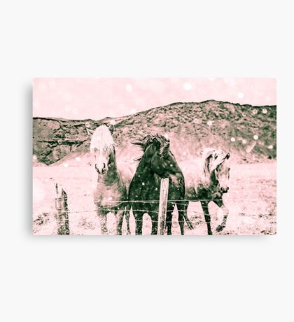Throw Pillow - Horses - Spirit Animals Black and White - Wall Tapestry Canvas Print