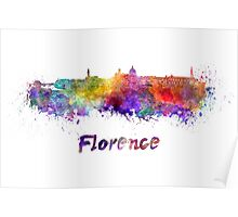 Florence skyline in watercolor Poster