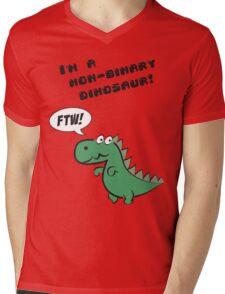 Non-binary dinosaur Mens V-Neck T-Shirt