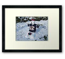 A NEW ENGLAND Patriot Snowman  Framed Print