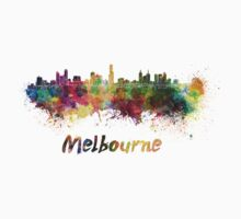 Melbourne skyline in watercolor Kids Clothes