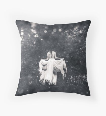 Forest - Magical Fairy Tale Princess Path in Black and White Throw Pillow