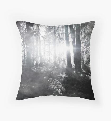 Forest Trees Magical Path Fireflies - Olympic National Park Hoh Rainforest Black and White Throw Pillow