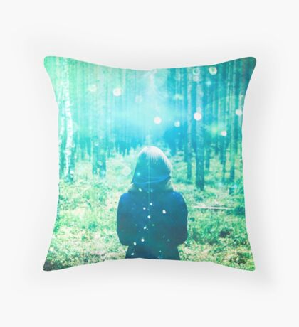 Green Forest Magical Path - This is how fairy tales begin. Throw Pillow