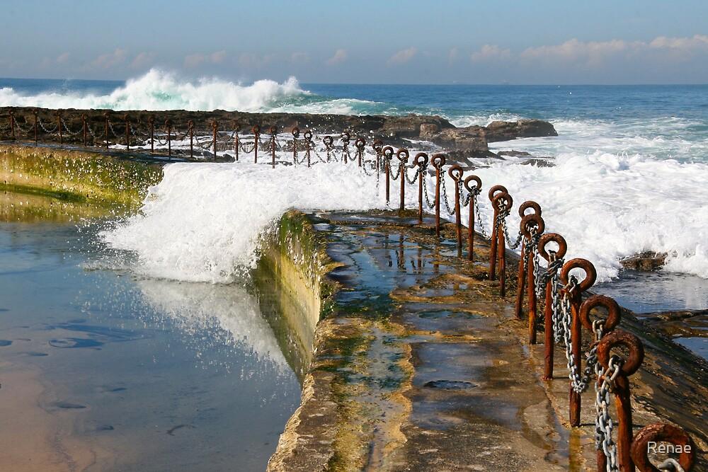 Incoming Tide Newcastle Beach by Renae