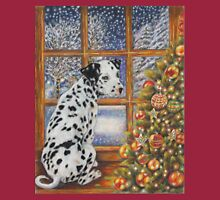 Christmas Dog Art - Dalmatian Puppy by the Christmas Tree Long Sleeve T-Shirt