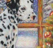 Christmas Dog Art - Dalmatian Puppy by the Christmas Tree Sticker