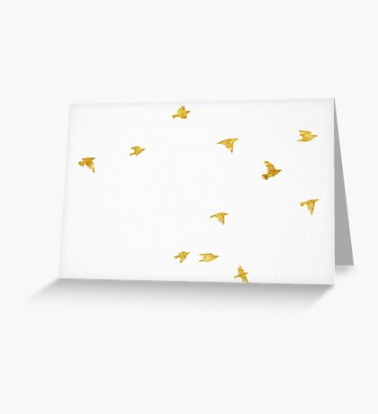 Fly Free - Birds in Gold Greeting Card