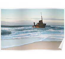 The Wreck of the Sygna - Stockton Beach, NSW Poster