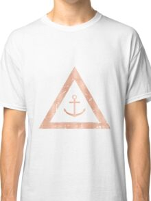 Rose Gold Anchor Nautical Decor - Pink and Black Classic T-Shirt