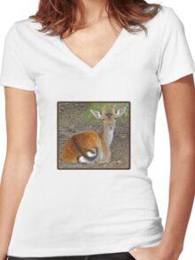 Baby Buck Tshirt Women's Fitted V-Neck T-Shirt