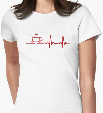 Morning Coffee Heartbeat EKG Womens Fitted T-Shirt
