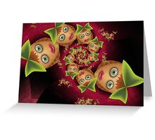 Inner Child - Little Schoolgirls with Bow Ties Greeting Card