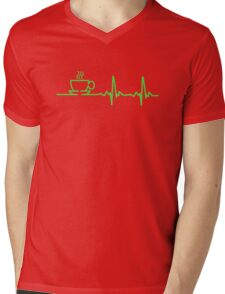 Morning Coffee Heartbeat EKG Mens V-Neck T-Shirt