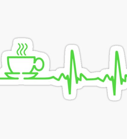 Morning Coffee Heartbeat EKG Sticker