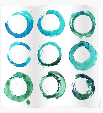 Watercolor round and circle t-shirt print like a sea water Poster
