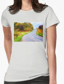 Autumn countryside road  Womens Fitted T-Shirt