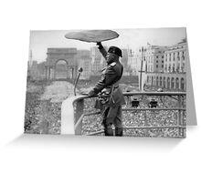 Pizza Mussolini Pizzeria Toss Slice Italy Italian Greeting Card