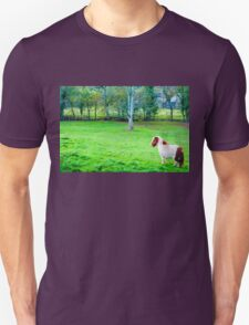 White chestnut pony horse in green grass field, copy space available T-Shirt