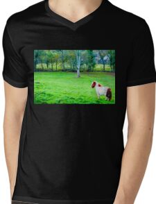 White chestnut pony horse in green grass field, copy space available Mens V-Neck T-Shirt