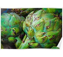 Closeup on Fresh green artichokes in the market, organic vegetables background Poster