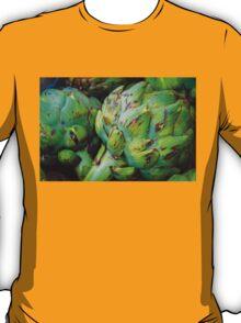 Closeup on Fresh green artichokes in the market, organic vegetables background T-Shirt