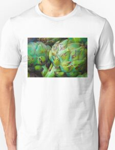 Closeup on Fresh green artichokes in the market, organic vegetables background T-Shirt