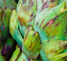 Closeup on Fresh green artichokes in the market, organic vegetables background Sticker