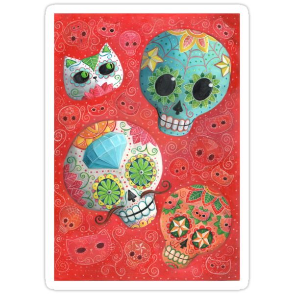 Colourful Sugar Skulls by colonelle