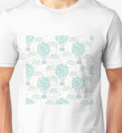 Vintage hot air balloons line drawing pastel turquoise blue Unisex T-Shirt