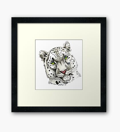 """Snow Leopard"" Framed Print"