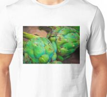 Closeup on Fresh green artichokes in the market, organic vegetables background Unisex T-Shirt