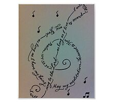 Treble clef 8x10 handwritten calligraphy art print by Melissa Goza