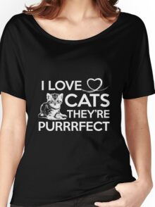 Cat I Love Cats They're Purrrfect Women's Relaxed Fit T-Shirt