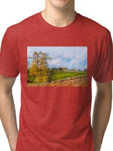 Green Countryside landscape in Yorkshire Dales National Park, United Kingdom Tri-blend T-Shirt